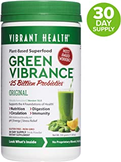 Vibrant Health - Green Vibrance, Plant-Based Superfood to Support Immunity, Digestion, and Energy with Over 70 Ingredients, 25 Billion Probiotics, Gluten Free, Non-GMO, Vegetarian, 30 Servings (FFP)