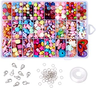 Beadthoven 1Box 24 Types Assorted Shapes Acrylic Beads Kits Colorful Beading Sets for Little Girls Children DIY Necklace Bracelet Handmade Gifts