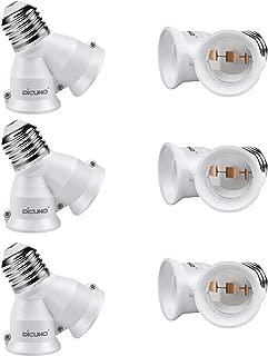 DiCUNO 2 in 1 E26 Socket Splitter Adapter, Two E26 Standard Medium Base Bulbs in One Socket Y-shape Lamp Holder Extender, Maximum 200W and 165℃ Heat Resistant Light Bulb Splitter 6Pcs