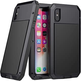 iPhone Xs Max Case,Aluminum Metal Full Body Bumper Silicone Shockproof Dropproof Heavy Duty with Gorilla Glass Screen Protector Cover Case for Apple iPhone Xs Max (Black-TK)
