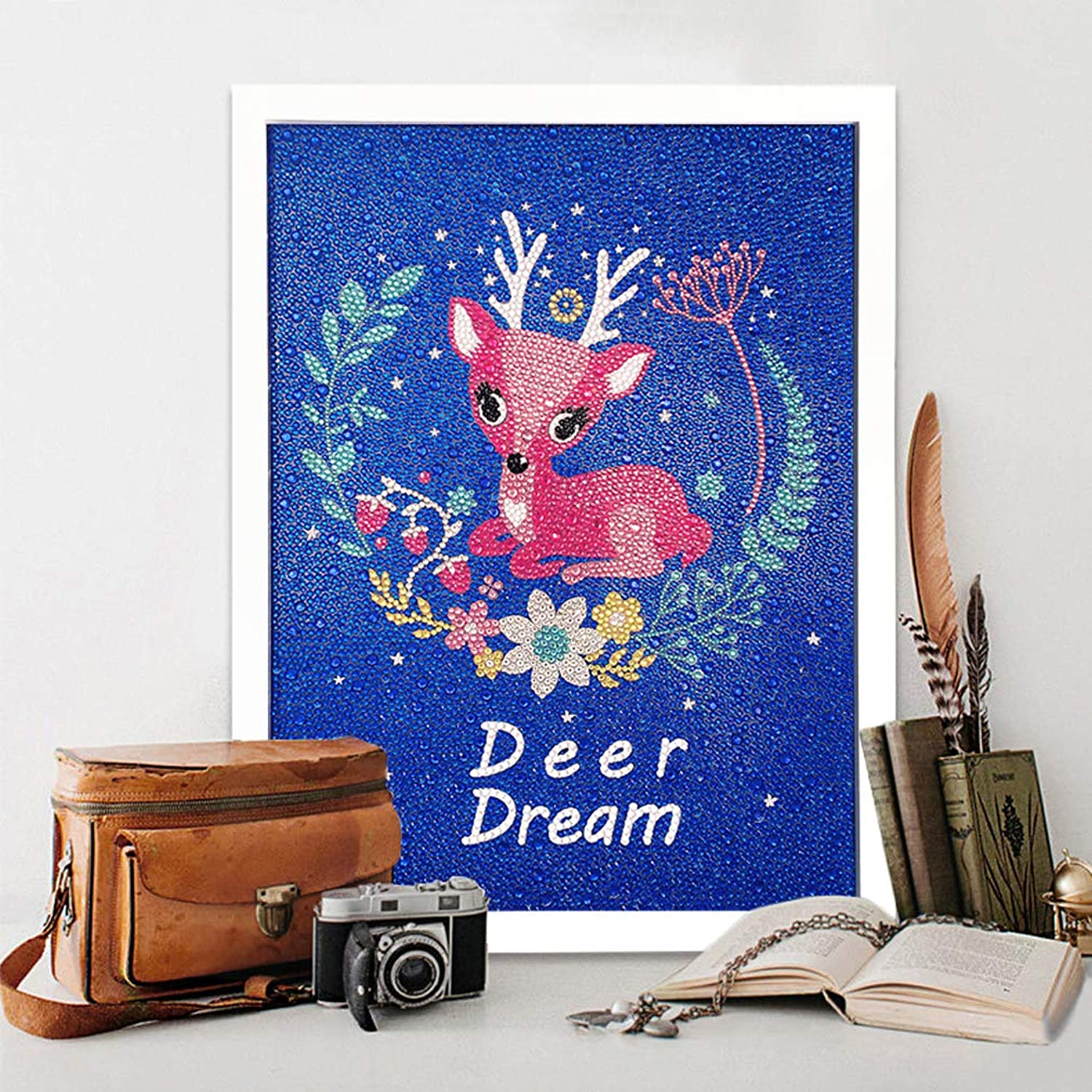 RM Studio DIY Diamond Painting Kits Full Round Drill Arts Craft with Frame and Accessories for Home Wall Decorations (Dream Deer, 16 inch)