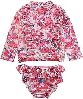 Little Girls 2 Piece Rash Guard Swimsuit Set Long Sleeve Beachwear Bathing Suits with UPF 50+ Sun Protection