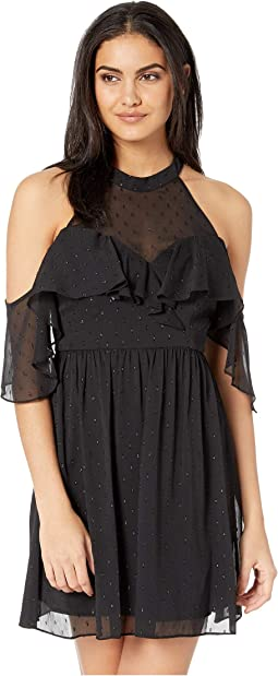 Halter Cold Shoulder Ruffle Dress