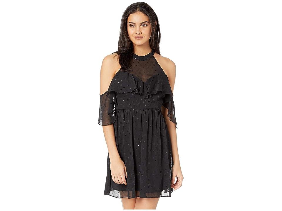 BCBGeneration Halter Cold Shoulder Ruffle Dress (Black) Women