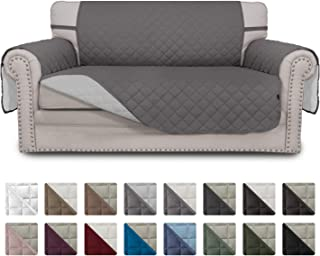 Easy-Going Sofa Slipcover Reversible Loveseat Cover Water Resistant Couch Cover Furniture Protector with Elastic Straps for Pets Kids Children Dog Cat(Loveseat,Gray/Light Gray)