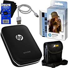 $139 » HP Sprocket Photo Printer, Print Social Media Photos on 2x3 Sticky-Backed Paper (Black) + Photo Paper (60 Sheets) + Protective Case + USB Cable + HeroFiber Gentle Cleaning Cloth