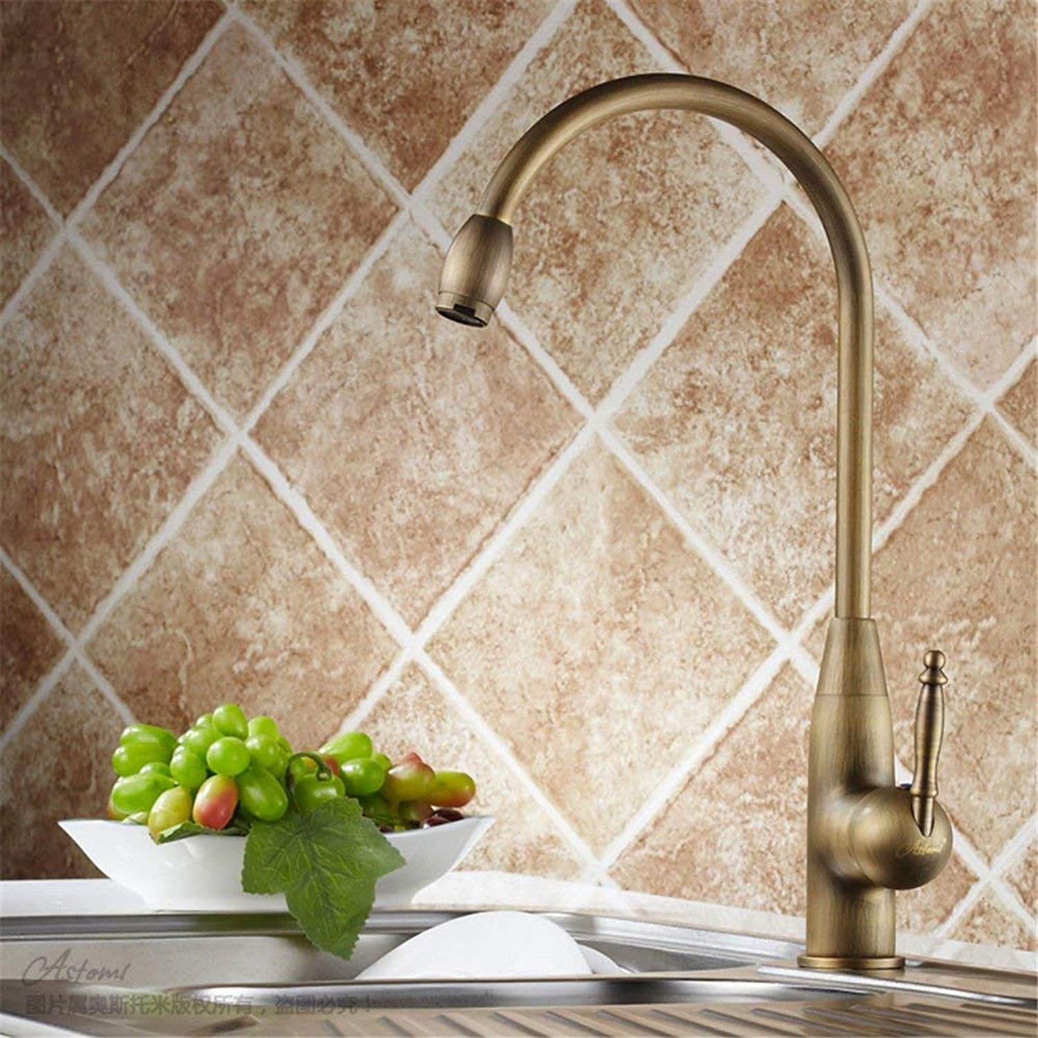 Oudan Kitchen taps Kitchen Sink tap Solid Brass hot and Cold Sink Mixer Antique Swivel spout (color   -, Size   -)
