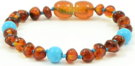 Baltic Amber Teething Bracelet for Babies with Turquoise Beads - 5.5 Inches - Baltic Amber Land - Knotted for Safety - Polished Cognac Amber Beads - Screw Clasp (Light Blue with Turquoise Beads)