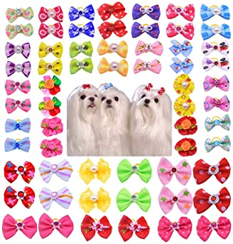 Yagopet 50pcs/Pack Cute New Dog Hair Bows Pairs Rhinestone Pearls Flowers Topknot Mix Styles Dog Bows Pet Grooming Pr...