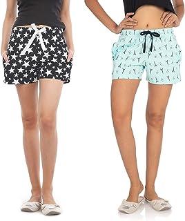 NITE FLITE Women's Cotton Shorts- Pack of 2 (Stars, Eiffel Tower)