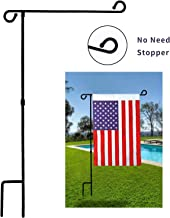 MAXZONE Garden Flag Stand Banner Flagpole, Black Wrought Iron Yard Garden Flag Pole - Holds Flags up to 12.5