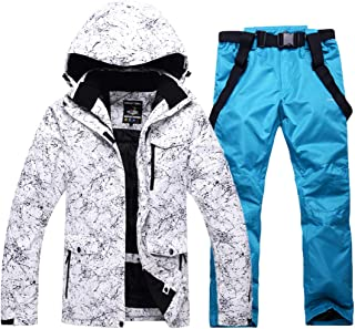 Outdoor Ski Suit Winter Warm Strap Leather Trousers + Ski Jacket Windproof Mountaineering Sports Jacket