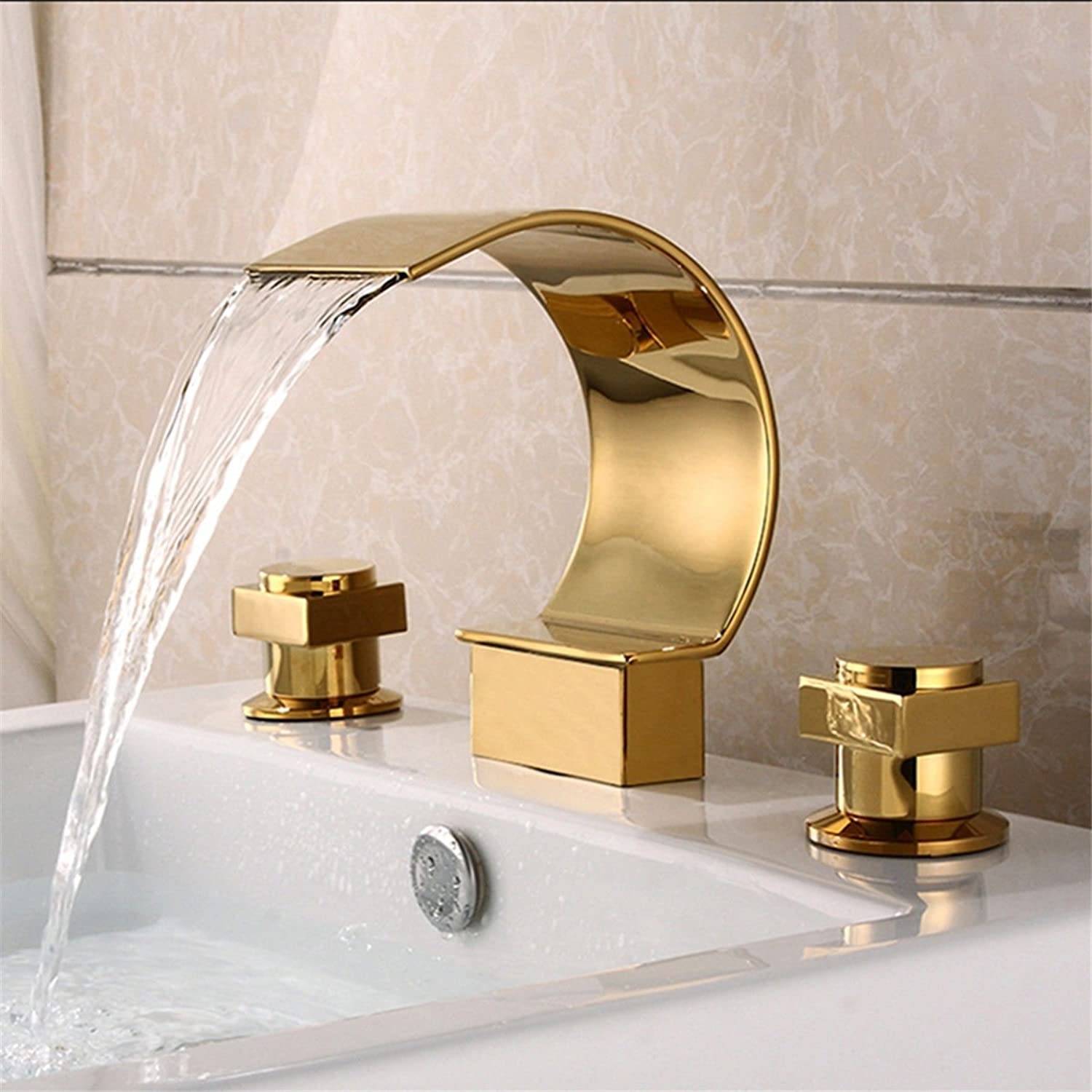 Hlluya Professional Sink Mixer Tap Kitchen Faucet gold Plated Double Handle three hole waterfall ceramic valve hot and cold mixing valve basin mixer   bathroom sink basin mixer