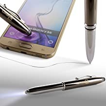 CoverON Stylus Pen 3 in 1 Function Luxury Black Ink Ballpoint Chrome Pen with Light and Stylus, Bright LED 1-Touch Flashlight + Smartphone Touch Screen Capacitive Stylus