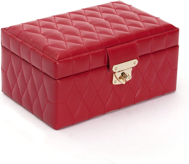 WOLF Caroline Small Jewelry Case, 6x8.75x4.25, Red