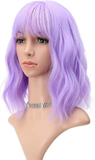 Wavy Wig 12 Inch Short Bob Wigs With Air Bangs Shoulder Length Women's Short Wig Curly Wavy Synthetic Cosplay Wig for Girl Costume Wigs Purple color