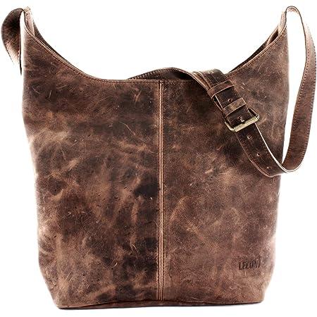 LECONI große Umhängetasche Damen Schultertasche praktische Ledertasche für Frauen Beuteltasche Vintage-Style Damentasche Shopper aus echtem Leder 34x34x11cm LE0055