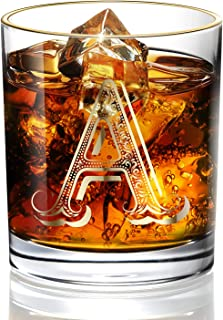 A Anniversary Wedding Whiskey Glass for Men/Dad/Son, Vintage Unfading 24K Gold Hand Crafted Old Fashioned Whiskey Glasses, Perfect for Gift and Home Use - 10 oz Bourbon Scotch, Party Decorations