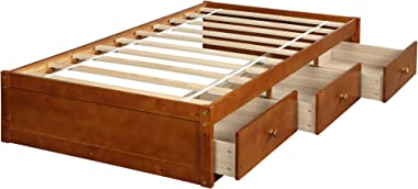 Daybed Twin with 3 Drawers,JULYFOX 500lb Heavy Duty Bed Frame No Headboard No Box Spring Need Sturdy Pine Wood Construction S