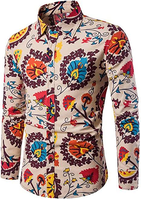Allthemen - Camisa de manga larga con estampado floral y estampado floral para hombre