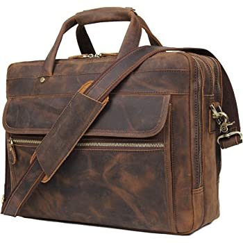 Augus Leather Briefcase for Men Business Travel Messenger Bags 15.6 Inch Laptop Bag YKK Metal Zipper, Brown
