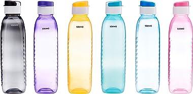 Amazon Brand - Solimo Plastic Water Bottle Set with Flip Cap ,1 Litre ,(6 pieces, Multicolour, Dotted pattern)