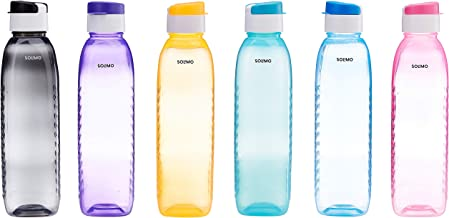 Amazon Brand - Solimo Plastic Water Bottle Set with Flip Cap ,1 Litre ,(6 pieces, Multicolor, Dotted pattern)