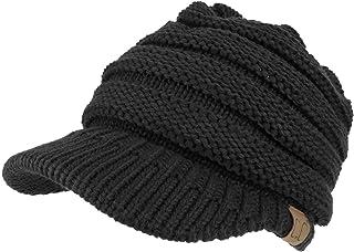 Trendy Apparel Shop Women's Ribbed Knit Winter Ponytail Visor Beanie Cap