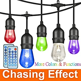 ANGROC 49Ft LED Outdoor RGBW Color Changing Chasing String Light, 26(24+2Free) Edison Vintage Bulb, Wireless Remote Control, Heavy-Duty Commercial Grade, Waterproof, Patio Lighting for Garden Backyard