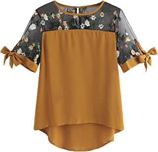 Women Lace Chiffon Contrast Short Sleeves Scoop Neck High Low Tops and Blouses