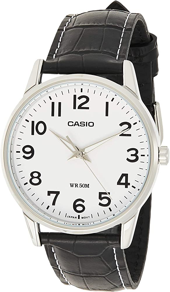 Casio, orologio da uomo,cassa in acciaio inossidabile e cinturino in vera pelle MTP-1303PL-7BVEF