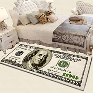 Pretty Comy Print Area Rug with Non-Slip Backing One Hundred Dollar 100 Bill Modern Home Decor Carpet Mat