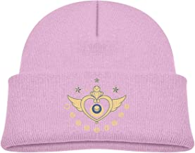 ABY14-YJ Kid's Knit Beanie Hat Sailor Moon Cuffed Cotton Soft Cute Skull Cap Pink