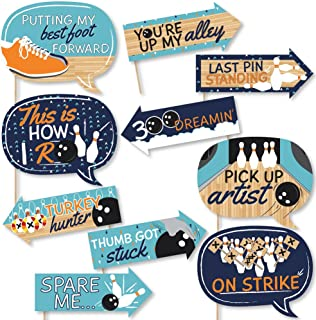 Big Dot of Happiness Funny Strike Up the Fun - Bowling - Birthday Party or Baby Shower Photo Booth Props Kit - 10 Piece