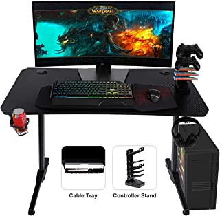 AuAg 43.7� Gaming Desk with Handle Rack, T-Shaped Office PC Computer Desk with Free Mouse Pad, Processional Game Station with Holder, Headphone Hook