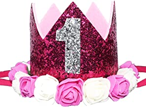 Glitter 1/2 1st 2 3 Birthday Princess Flower Floral Crown Tiara Cake Smash Photo Prop