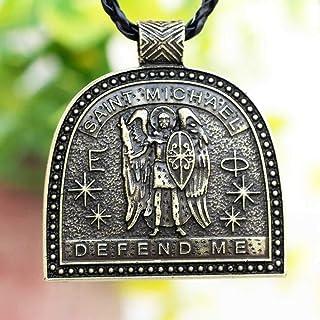 Valily Collier Shield Saint Michel Homme Femme Oro//Acier Inoxydable//Noir St Michel Archange Saint Patron Bijoux