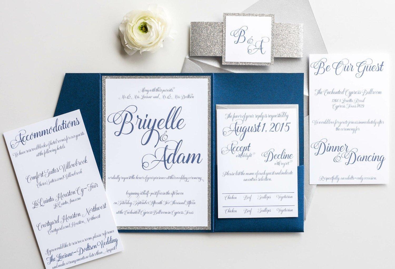 Popular standard Personalized Glitter Wedding Invitation Fashionable Pocketfold with Formal