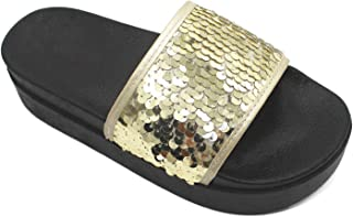 Summer Women Non-Slip Beach Slippers with Soft and Thick (Color : Golden, Size : 38)
