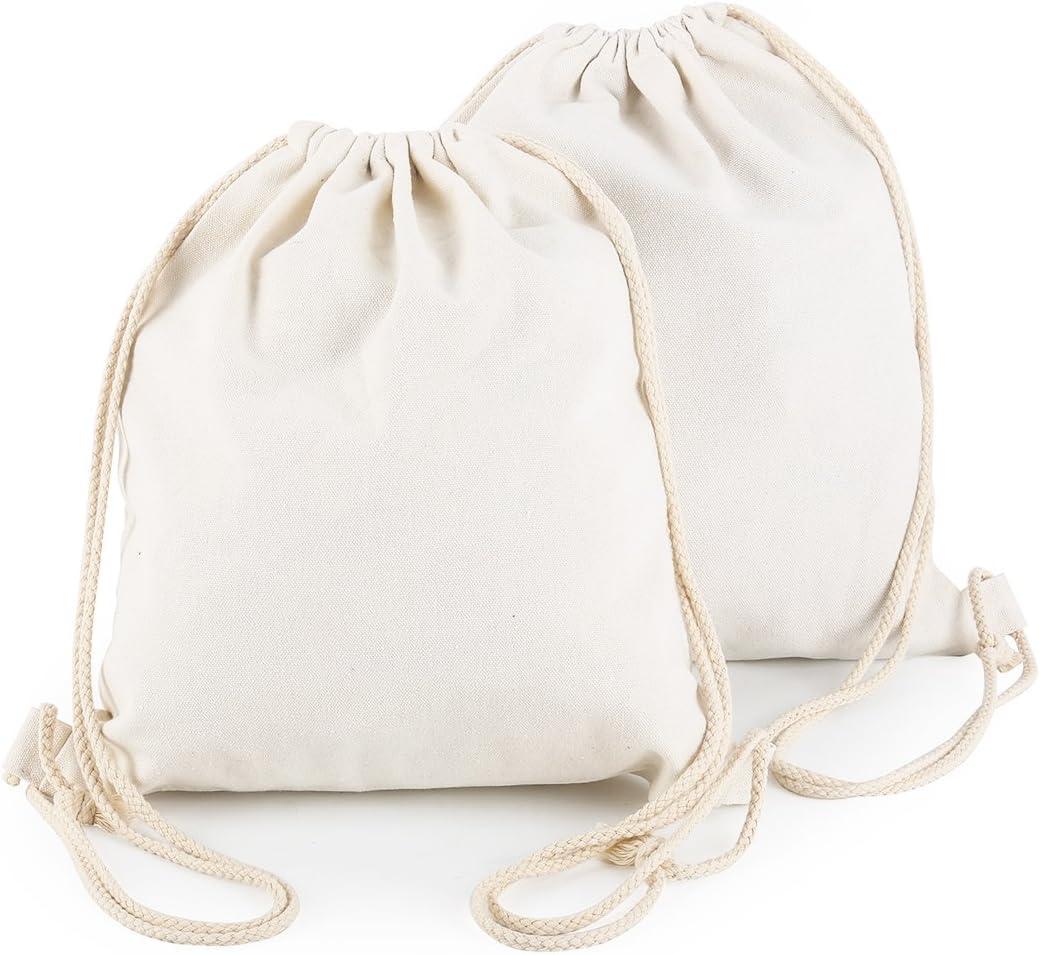 Yingkor Cotton Canvas Drawstring Backpack Bag Gym Sackpack Sport String Sack Pack Bags pack-2, White