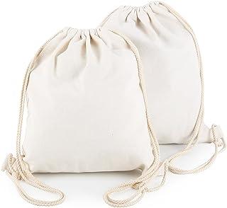 Yingkor 2-pack Cotton Canvas Drawstring Backpack Gym Sackpack