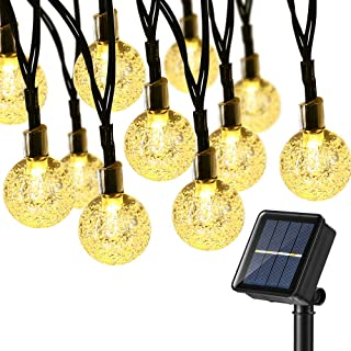 BrizLabs Solar String Lights, 38.35ft 60 LED Solar Globe String Lights, 8 Modes Crystal Balls Outdoor Solar Powered String Lights Waterproof for Patio, Garden, Yard, Bistro, Balcony Decor, Warm White