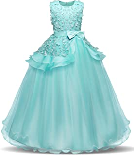 30e21023e76 NNJXD Fille sans Manches Broderie Princesse Pageant Robes Enfants Bal Robe  de Bal