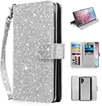 Newseego Compatible with Samsung Galaxy Note 10+ Plus/5G Leather Case,Glitter Faux PU Magnetic Multi-Card Slot Cash Protective Case Detachable 2 in 1 Wallet Cover with Wrist Strap-Silver