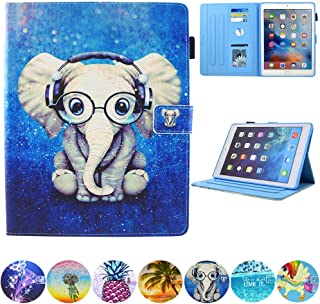 "JZCreater Case for iPad Air (3rd Gen) 10.5"" 2019 / iPad Pro 10.5"" 2017 Case, Multi-Angle Viewing Wallet Case Cover with Auto Sleep/Wake, Elephant"