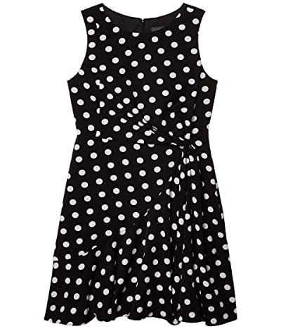 Adrianna Papell Dot Printed Fit-and-Flare Dress (Black/Ivory) Women