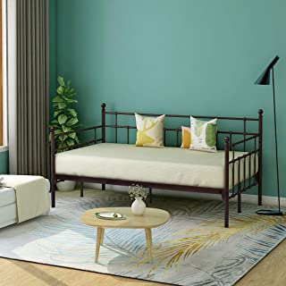 HOMERECOMMEND Metal Daybed Frame Twin Steel Slats Platform Base Box Spring Replacement Bed Sofa for Living Room Guest Room (Twin,Dark Copper)