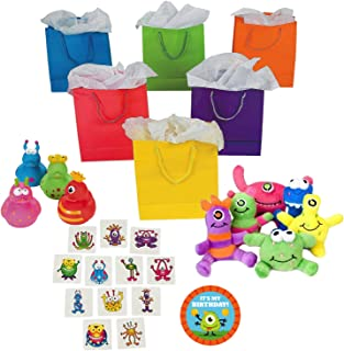 Little Monster Birthday Party Supplies, Favor Kit with Bags for 12 Guests
