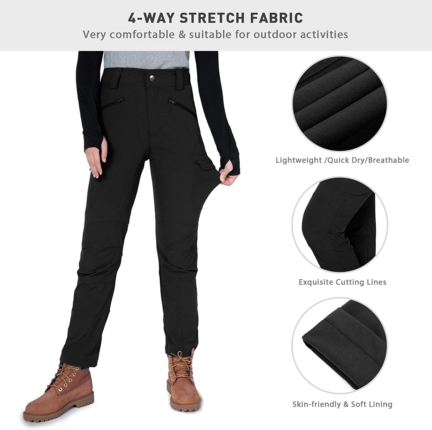 Gouxry Womens-Hiking-Pants-Lightweight Quick Dry with 4 Zippered Pockets Travel Fishing Camping Outdoor Pants for Women