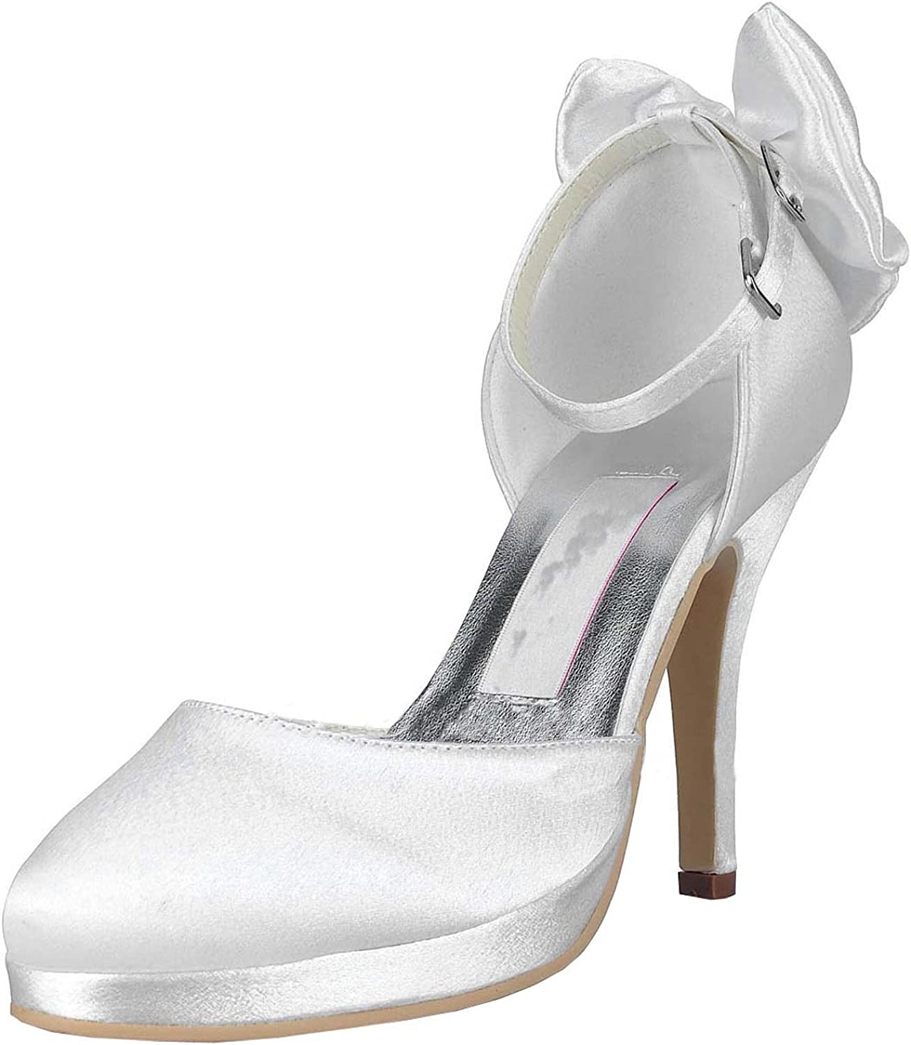 Minitoo Womens MZ546 Round Toe Ankle Strap Satin Wedding Party Evening Prom Pumps shoes